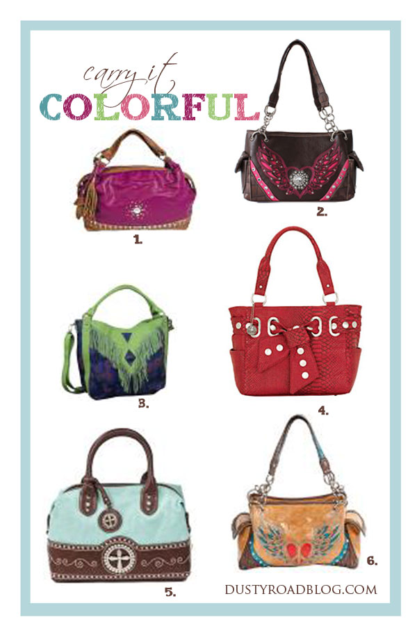 Add a pop of color to your wardrobe with a western inspired handbag or purse | dustyroadblog.com